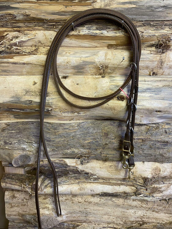 #218-thin, Original sewn split leather martingale reins
