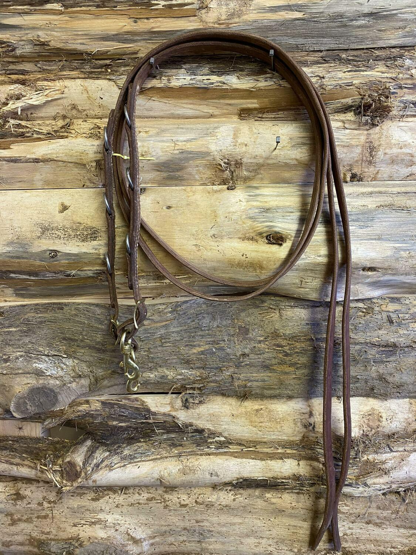 #214 Leather flat split martingale reins