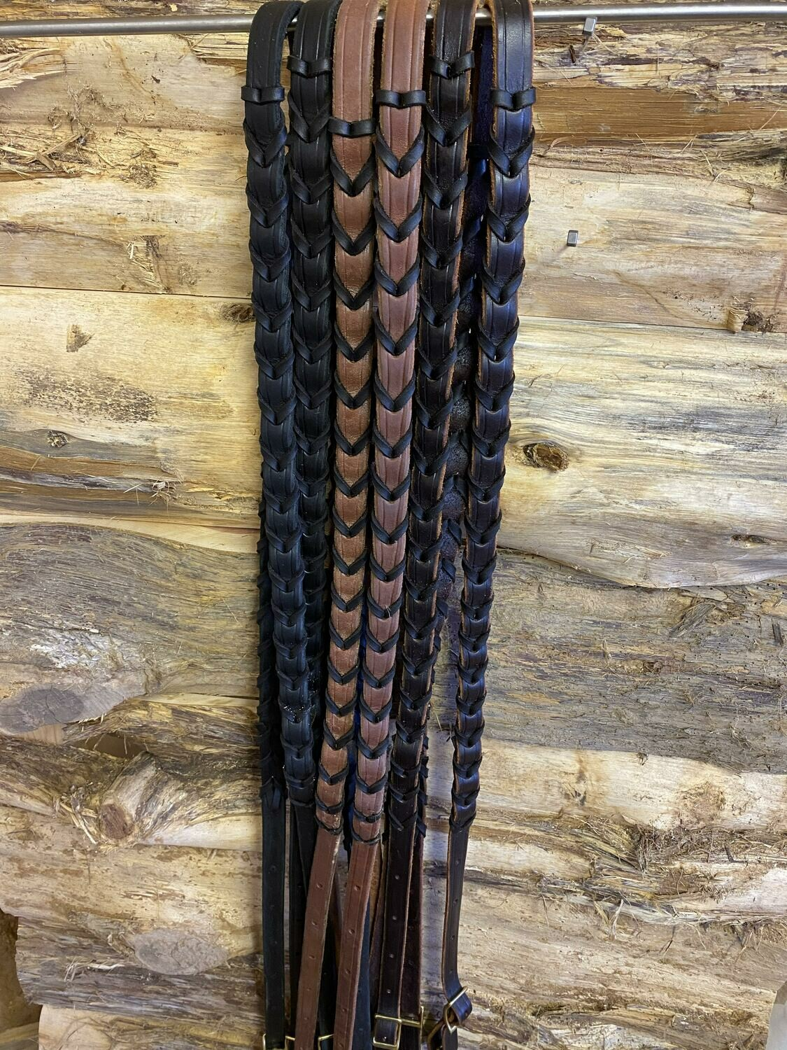 #197B Leather laced reins