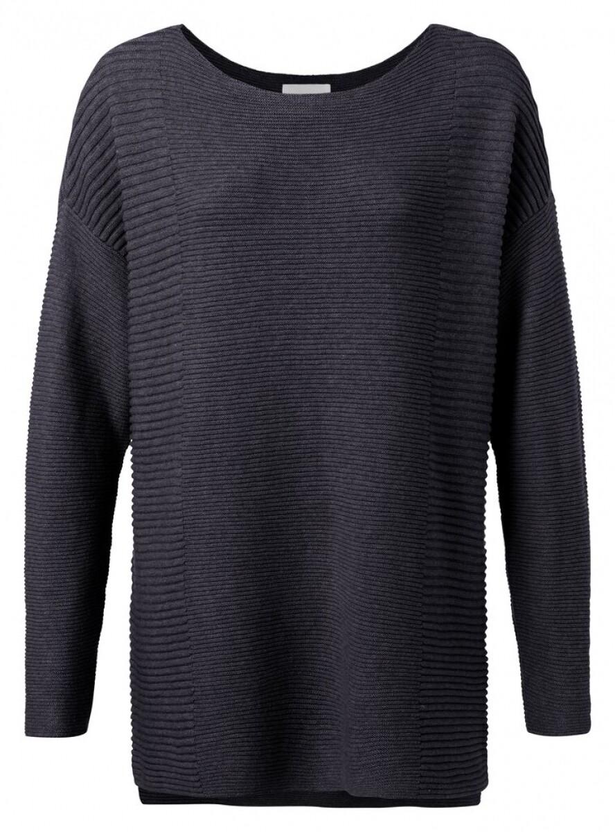 YAYA Cotton sweater with splits BLUE NIGHTS