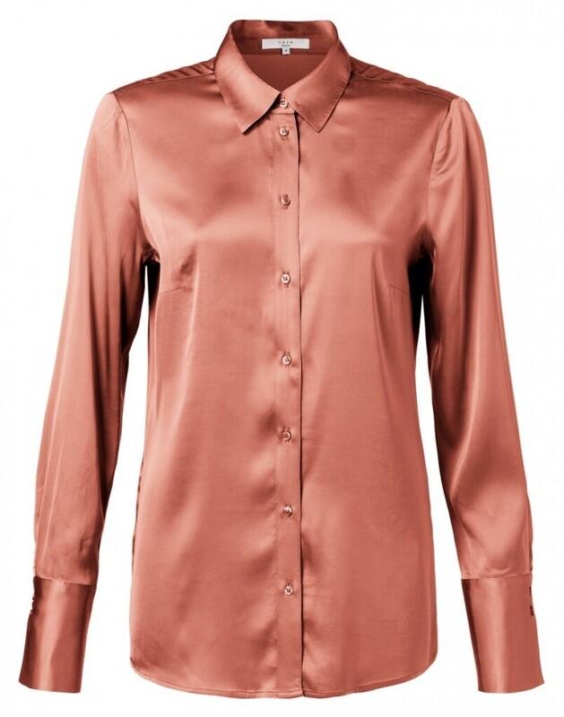 YAYA blouse satin RUSTY BROWN