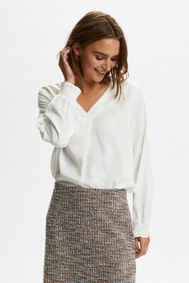 Cream V-blouse Viscosemix creme
