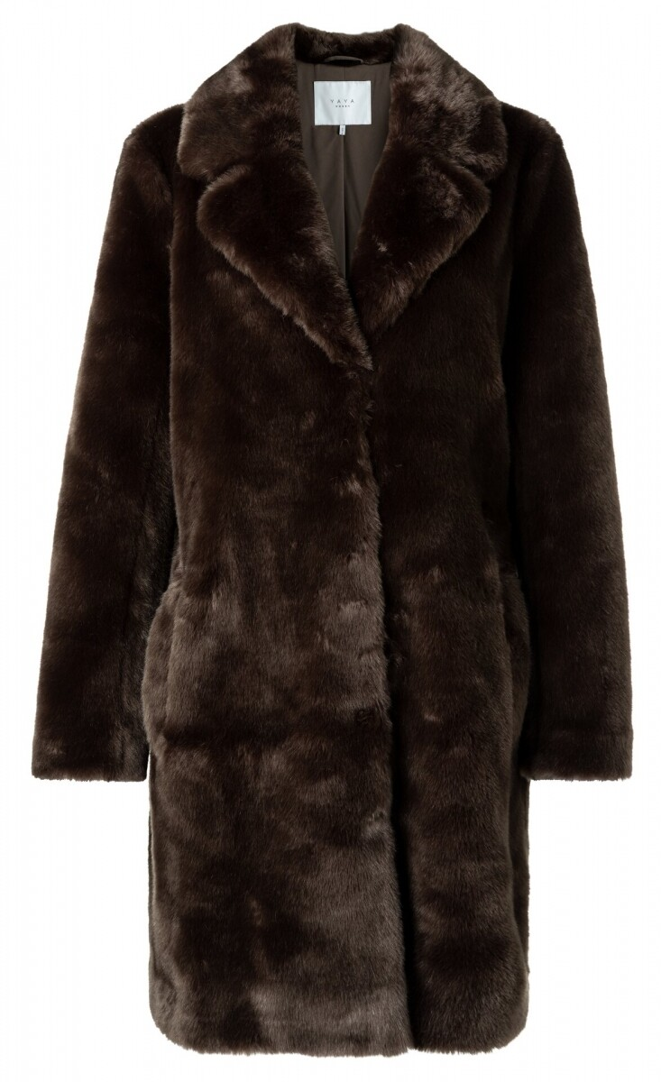YAYA Faux fur coat LICORICE