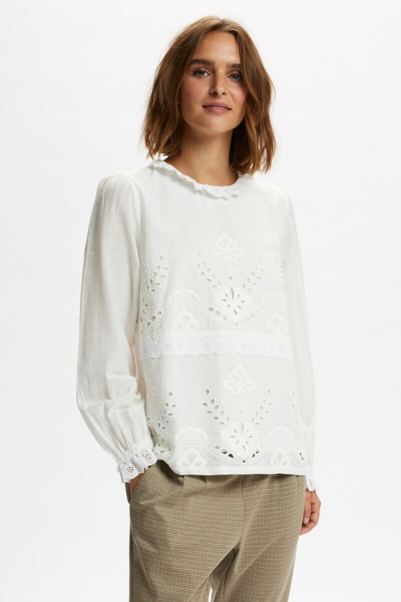 Cream Kari broderie cotton blouse
