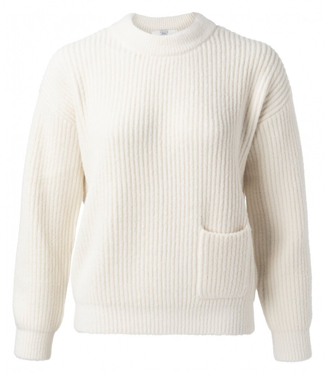 Yaya Sweater Fluffy WOOL WHITE