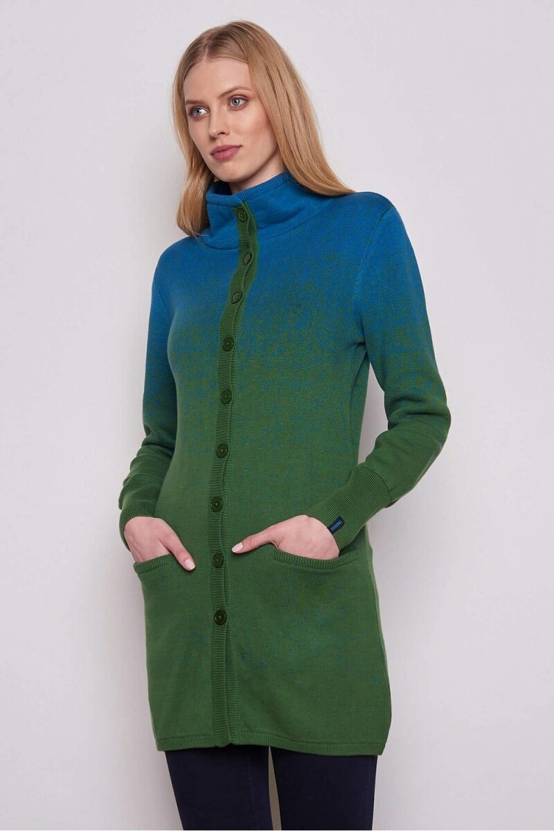 Tranquilo Cardigan button Green/blue