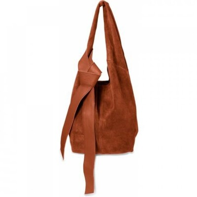 YAYA Suede shopper with strap RUSTY BROWN