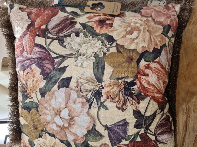 Sierkussen Velours bloemenprint