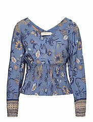 Cream Blouse Johui Blue Saraza Flower mix