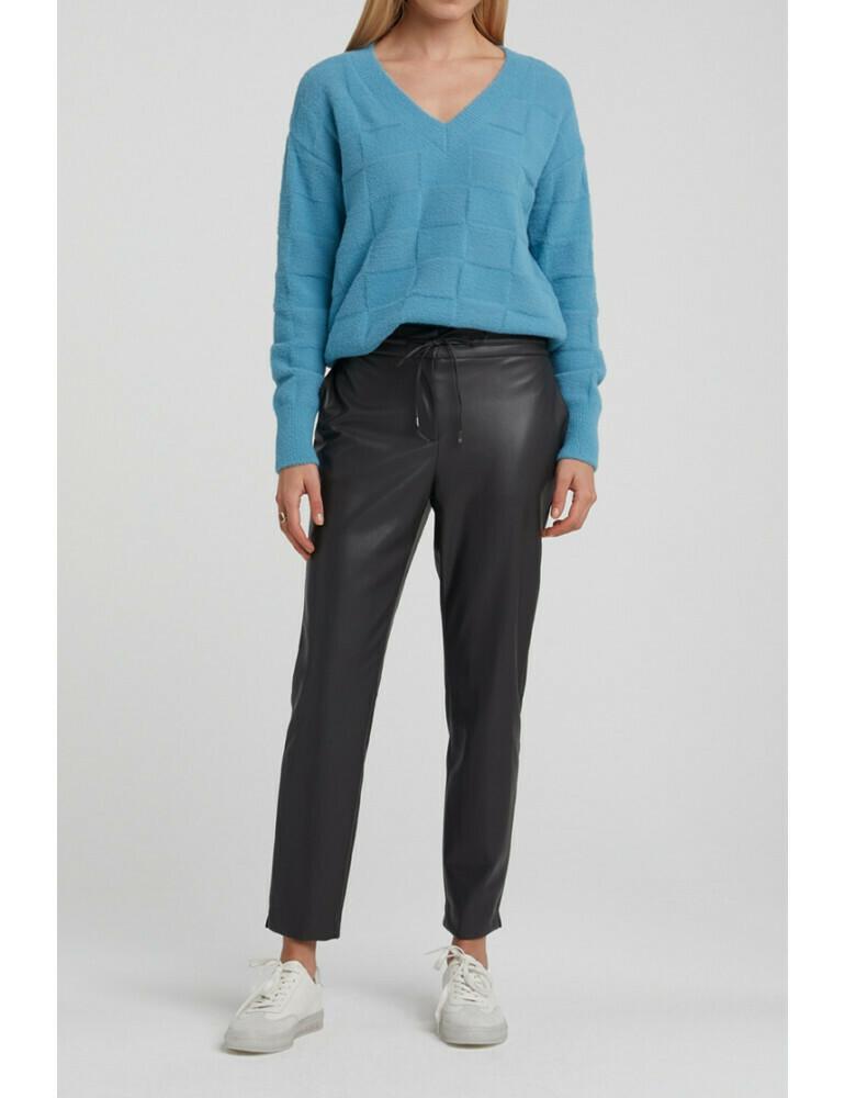 YAYA Relax fit trousers Vegan Leather PHANTOM