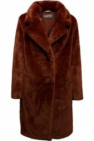 Faux Fur Coat Maxi Brown van Esprit