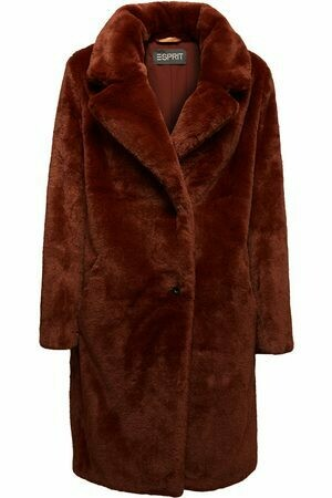 Faux Fur Coat Maxi Brown van Esprit