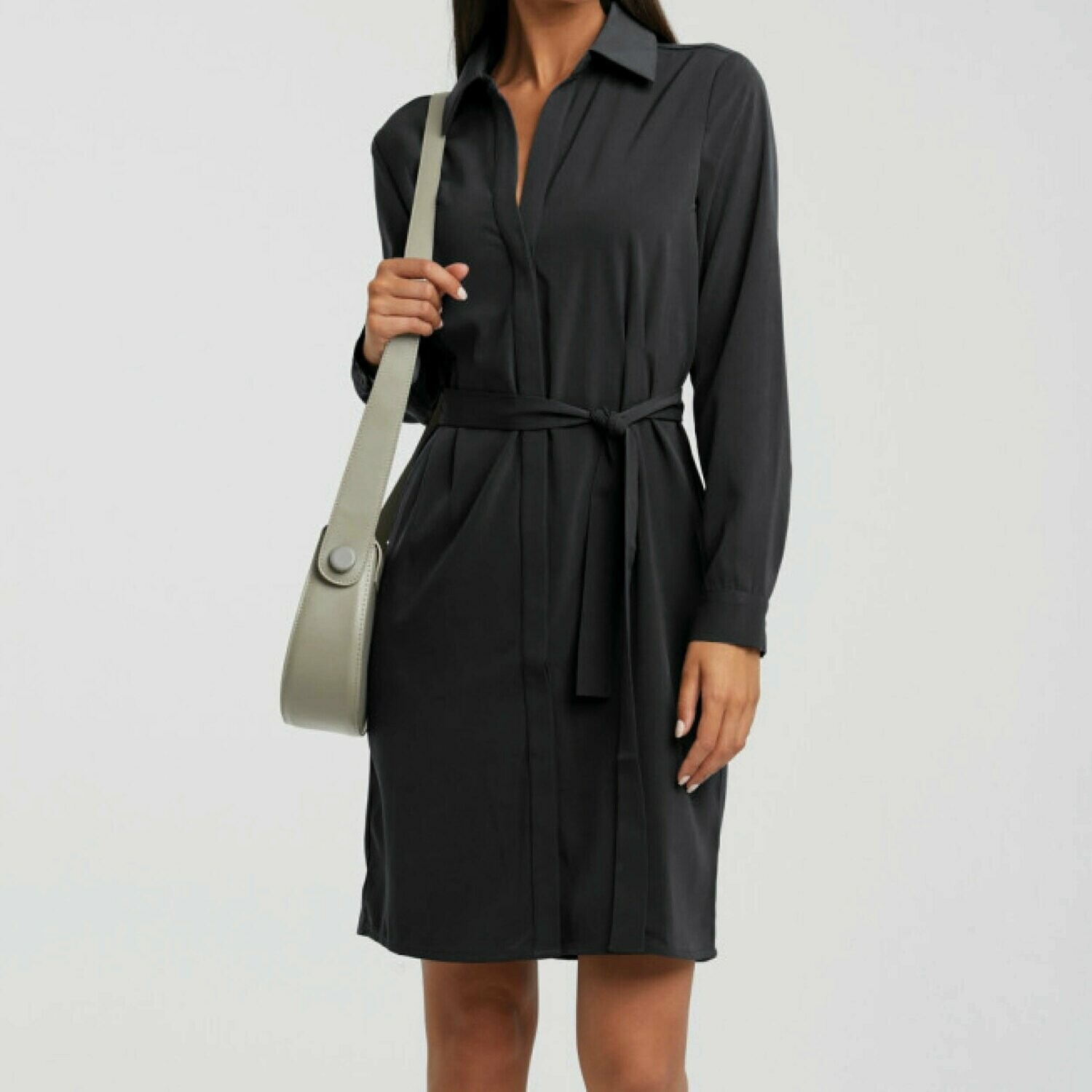 YAYA Belted button up midi dress PHANTOM
