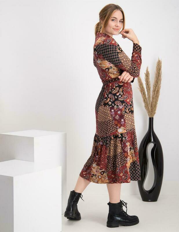 Tramontana Dress Patchwork Brown