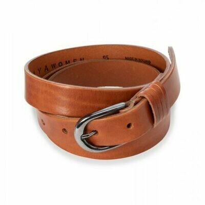 YAYA Basic leather belt BROWN CLAY
