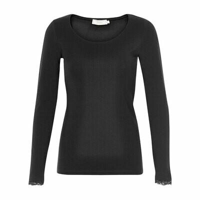 Cream t-shirt longsleeve Black