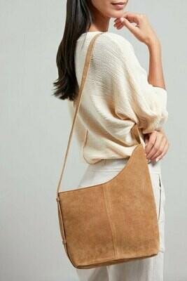 YAYA Suede shoulder bag BISCUIT DESSIN