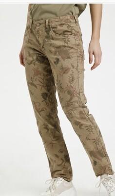 Cream katoenen stretch broek