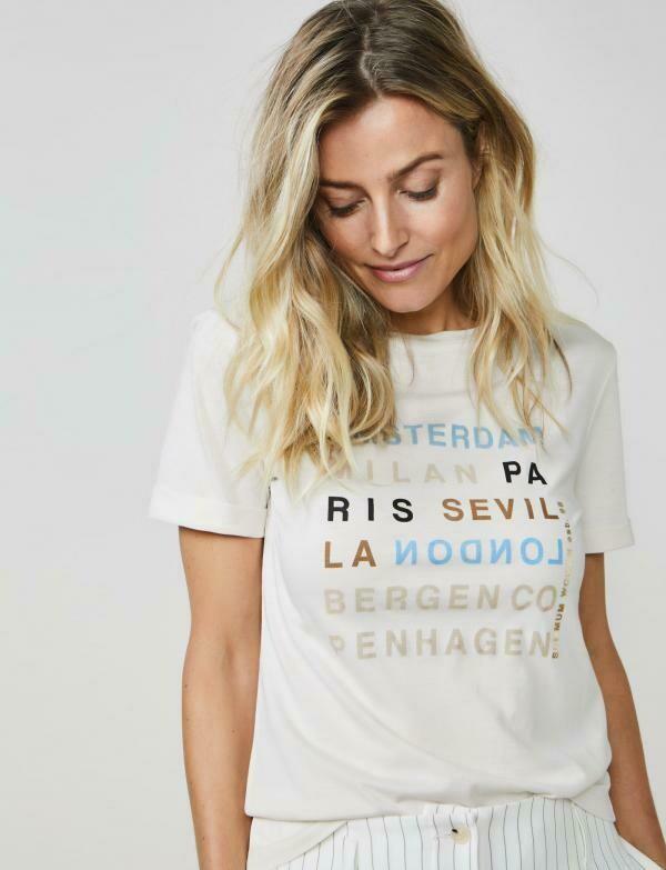 Summum Shirt text Beige/light blue