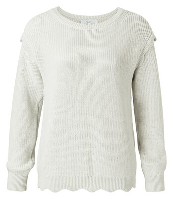YAYA Scallop edges sweater SHIFTING SAND