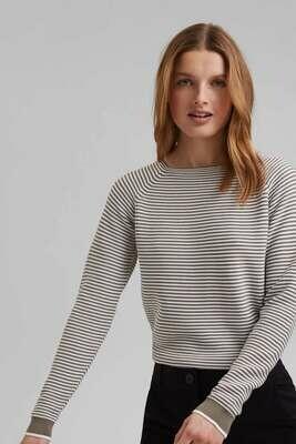 Esprit Pullover bio cotton stripe NOOS Khaki
