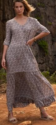 YAYA Maxi dress Viscose DARK GREY DESSIN