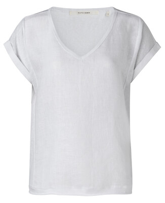 YAYA Top with short sleeves Linen PURE WHITE