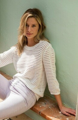 YAYA Sweater Structure knitted  3/4 sleeves WOOL WHITE