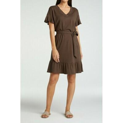 YAYA Dress Ruffle Linen TURKISH COFFEE