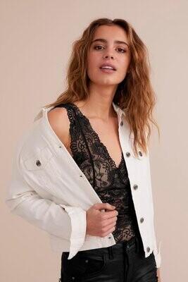 Cream Denim Jacket Lisa White
