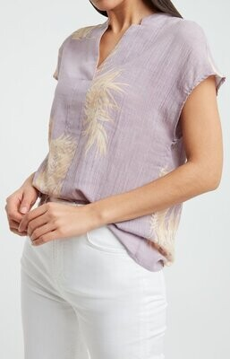 YAYA V-Neck Top Cotton Printed LILAC