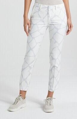 YAYA Trousers Slim fit Print BLANC DE BLANC