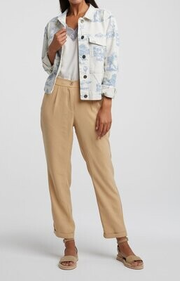 YAYA Jacket Story Print Cotton BLANC DE BLANC