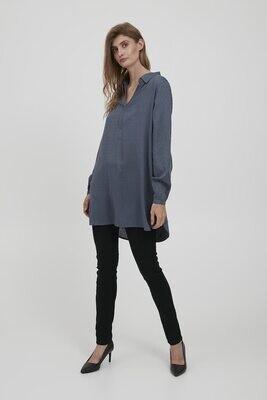 Fransa Tunic blouse Cotton Blue