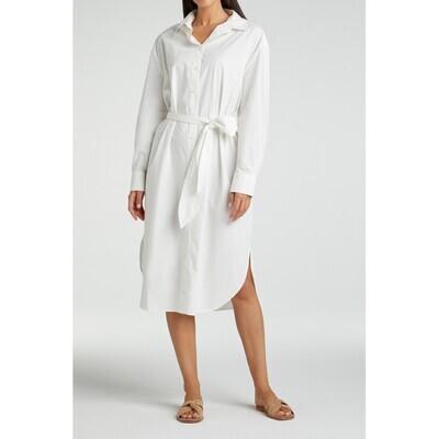 YAYA Dress Maxi poplin cotton  BLANC DE BLANC