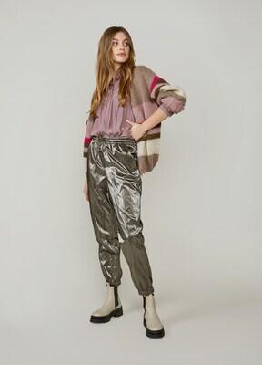 Summum Pants Coated Dark Taupe