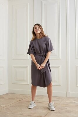 YAYA Dress Kimono Belt Modal VOLCANIC GLASS DARK GREY