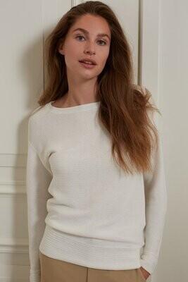 YAYA Sweater Bootneck Cotton WOOL WHITE