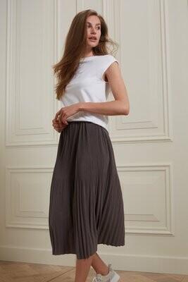 YAYA Skirt Midi Plisse VOLCANIC GLASS DARK GREY