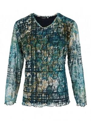 Leona shirt mesh 0ha petrol blauw