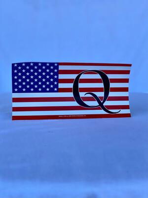 """Q American Flag"" Bumper Sticker"