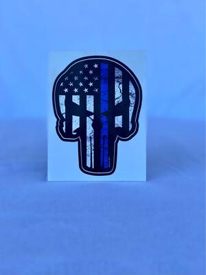 Blue Line Punisher Bumper Sticker