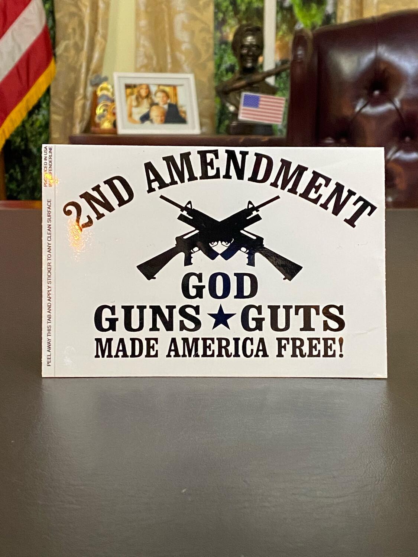 God Guns Guts Bumper Sticker