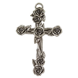 Pewter Rose Wall Cross 510-379-7178