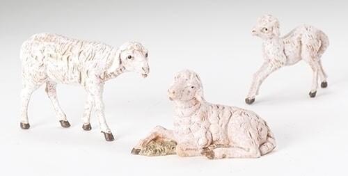 """Fontanini 5"""" White Sheep 3 pc 51539"""