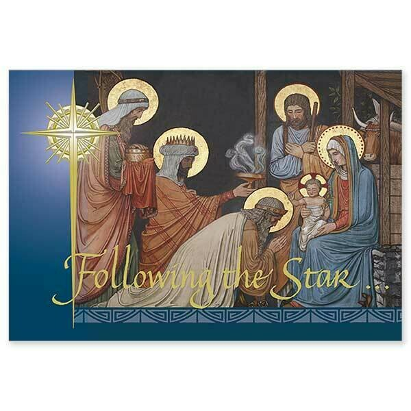 Following the Star Embossed BX 16 Christmas Cards WCR2091