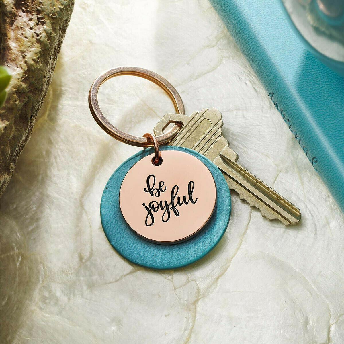 Be Joyful Rose Gold Keyring with Teal Disc
