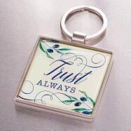 Trust Always in Olive Design - Psalms 52:8-9 Keyring