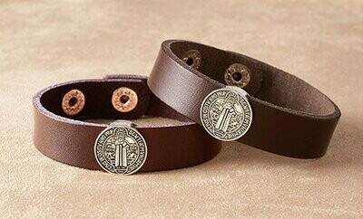 St Benedict Leather Bracelet Brown