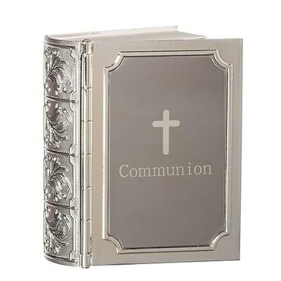 "3.5"" Communion Bible Silver Keepsake Box"